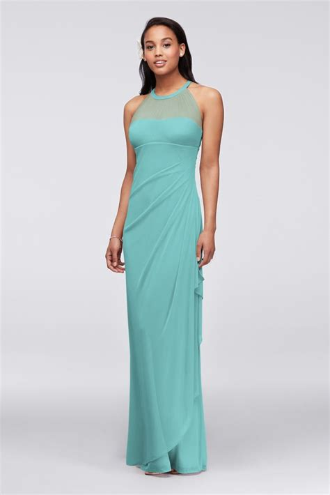 illusions color spa sleeveless mesh dress with illusion neckline style