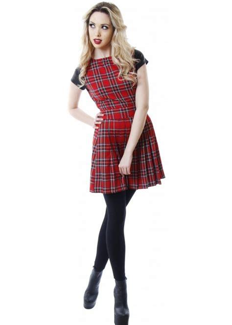 Tartan Mini Dress tartan skater dress tartan pleated mini dress tartan
