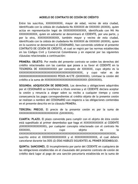 formato modelo o ejemplo de contrato de asimilados a salarios modelo de contrato de cesi 211 n de cr 201 dito en colombia
