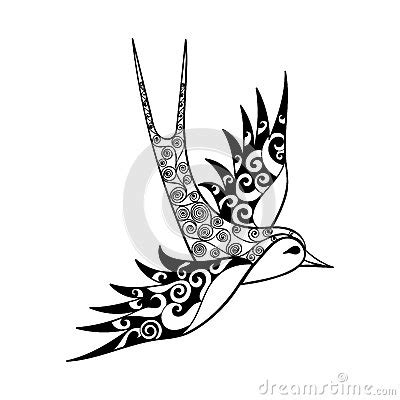 tribal swallow tattoo tribal bird totem for coloring