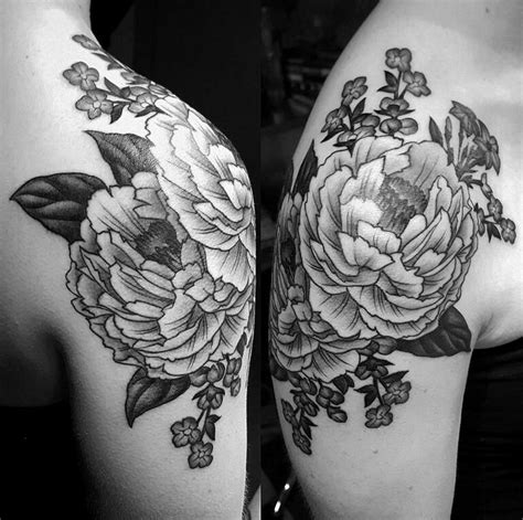 peony tattoo black and grey black and grey peony shoulder tattoo tattoo pinterest