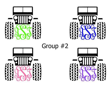 Jeep Initials Monogram Initials Custom Jeep Vinyl Diecut Decal Car Wndw