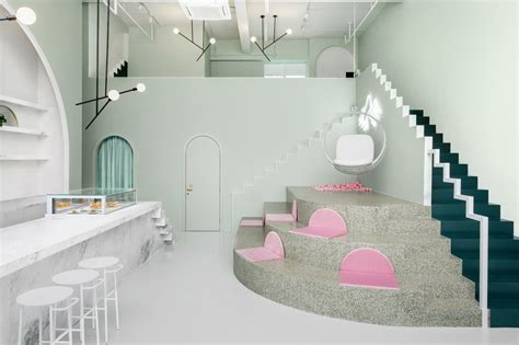 cafe design  pastel colors  budapest cafe  china
