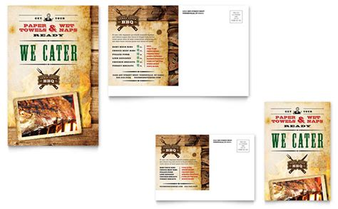 6x4 postcard template steakhouse bbq restaurant postcard template design