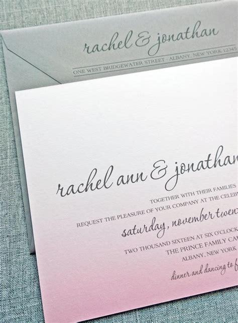 wedding invitation description pink ombre wedding invitation sle 2424203 weddbook
