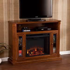 sei claribel media console electric fireplace rich brown