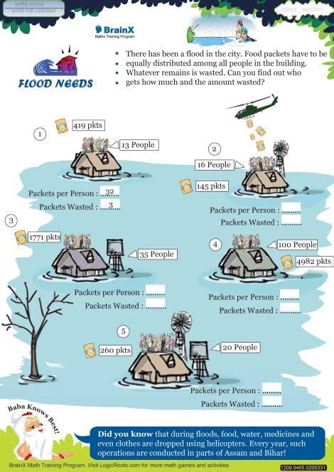 flood  math worksheet  grade   printable