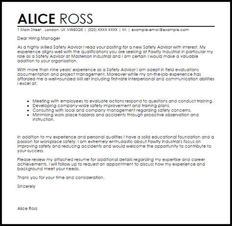 Apology Letter Format For Safety Safety Advisor Cover Letter Sle Livecareer