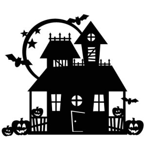 halloween haunted house scrapbook cut file cute clipart