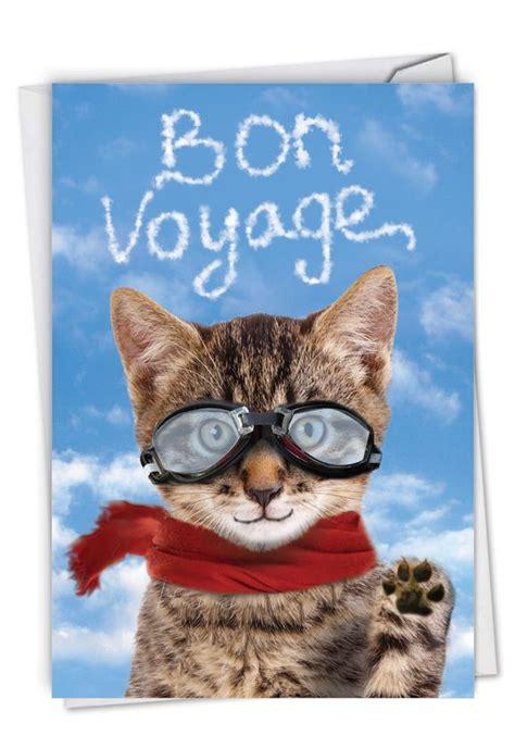 goodbye cat funny bon voyage paper card