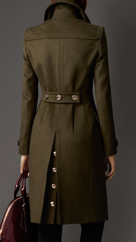 wool cashmere blend military cape coat burberry burberry wool cashmere military coat in green lyst