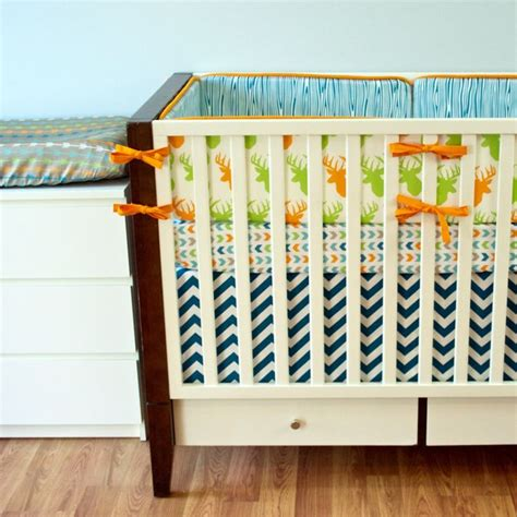 Color Crib by Bedroom Orange Ribbon Color On Rails Closed Baby Deer