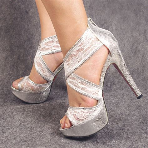 gorgeous high heel shoes silver glitter beautiful soft ankle lace wedding shoes