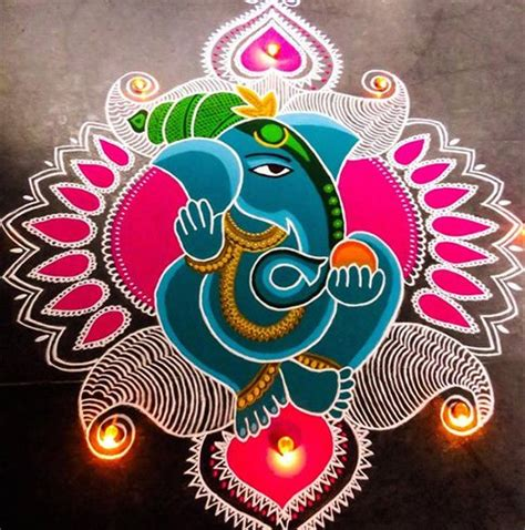 Decorate Homes by Latest Ganesh Rangoli Designs Ideas And Pictures For 2017