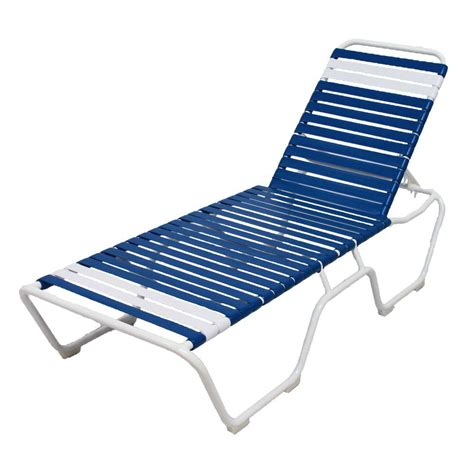 Multi Colored Chaise Lounge Marco Island White Commercial Grade Aluminum Vinyl Outdoor Chaise Lounge In Blue And White