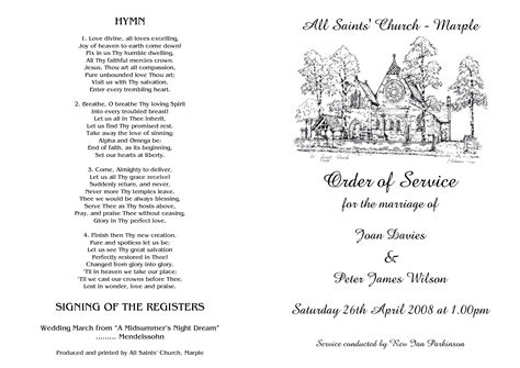 free order of service wedding template church wedding order of service
