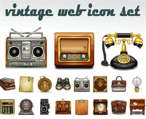 retro icons 20 free sets for vintage themed designs 300 wonderful free vintage and retro icons creativedive