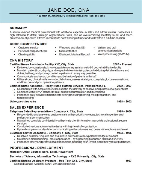 sle resume for cna with no previous experience assistant cna resume exle