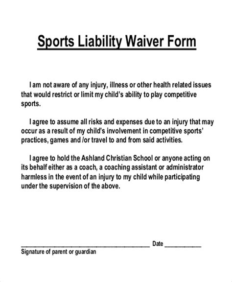 waiver form template for sports sle liability waiver form 11 free documents in pdf