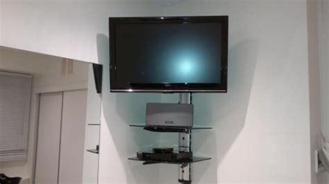 corner tv wall bracket with shelf corner tv wall mount