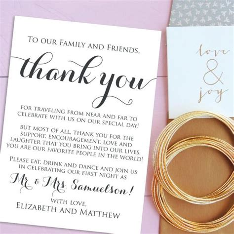 thank you letter after wedding reception wedding thank you cards welcome letter printable wedding