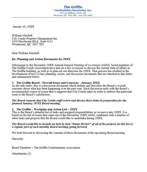 Complaint Letter To Property Management Company Condo Association Letter To Management Company Covering Docs For Upcoming Year