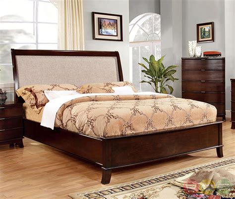 Mercer Contemporary Brown Cherry Bedroom Set With Beige