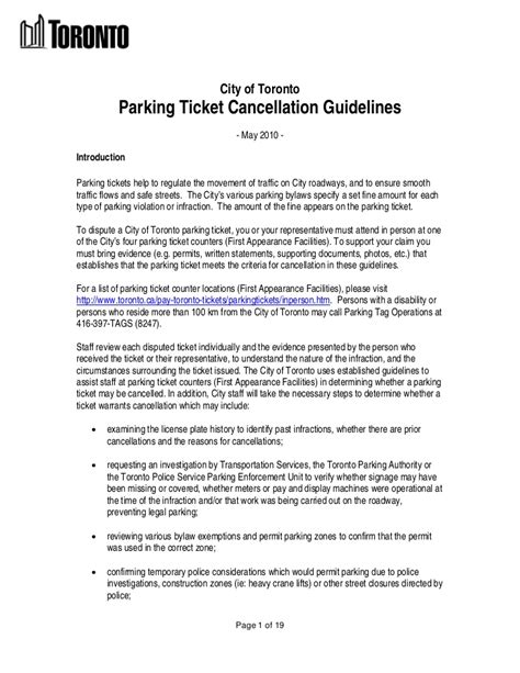 cancellation letter of condo units city of toronto parking ticket regulations