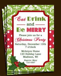 Ugly Christmas Sweater Party Invite - christmas party invitation printable green damask red dot eat drink and be merry