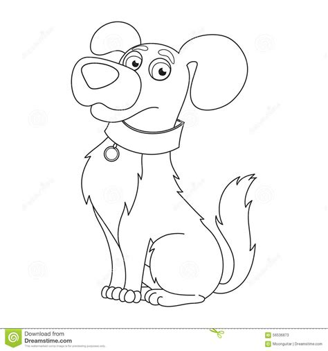 Cute Dog Coloring Book Page For Children Stock Vector