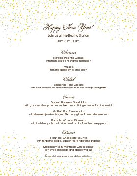 new years menu template new year s menu new year s menu template