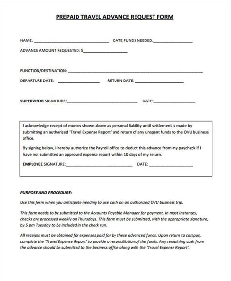 advance request form template travel request form template