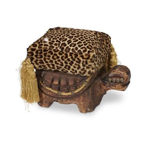 turtle ottoman faux leopard upholstered turtle form ottoman probably witco