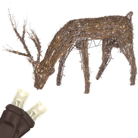 grapevine lighted deer outdoor decorations 48 quot grapevine reindeer with led outdoor yard decoration