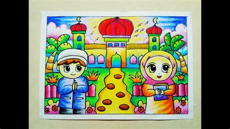 mewarnai gradasi crayon oilpastel pergi  masjid