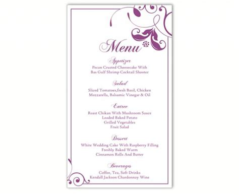 Wedding Menu Template Diy Menu Card Template Editable Text Word File Instant Download Eggplant Wedding Menu Size Template