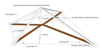roof framing geometry hip rafter offset for hexagon and