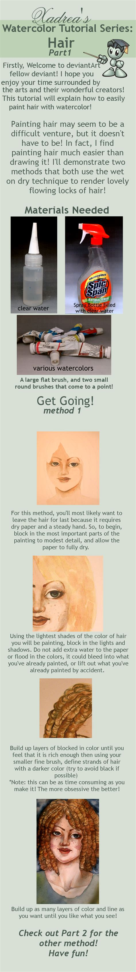 watercolor tutorial part 1 watercolor tutorial hair part 1 by xadrea on deviantart