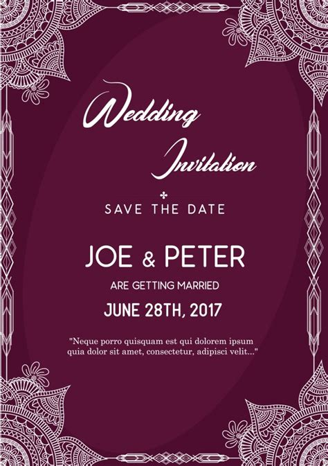 Purple Wedding Invitation Template Vector Free Download Purple Invitation Template