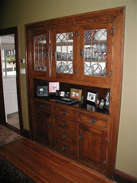 lovely dining room built in hutch great leaded glass