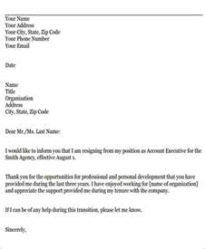Resignation Letter Based On Personal Reasons Sle Resignation Letters For Personal Reasons 5 Exles In Pdf Word