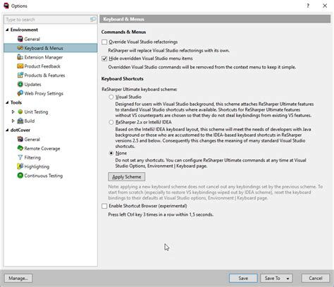 reset visual studio keyboard settings how do i reenable the quot navigate quot option in visual studio