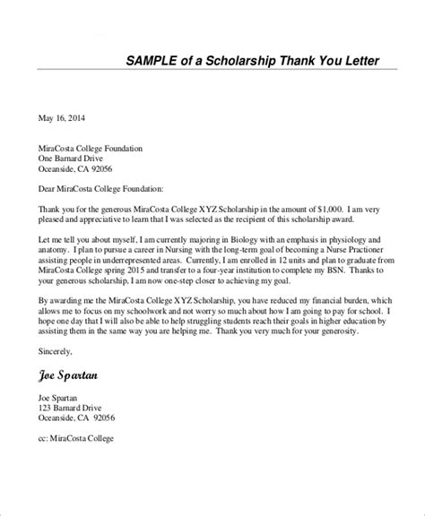 7 Thank You Letter For Scholarship Sles Sle Templates Grant Thank You Letter Template