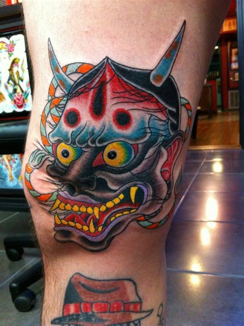 watercolor tattoos corpus christi traditional japanese hannya mask tattooed by
