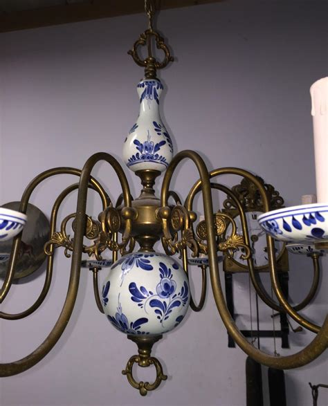 Blue Delft Chandelier Sold To Els Vintage Brass Porcelain Delft Blue
