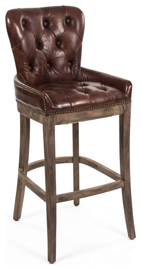 black leather tufted bar stools ridley rustic lodge tufted brown leather bar stool