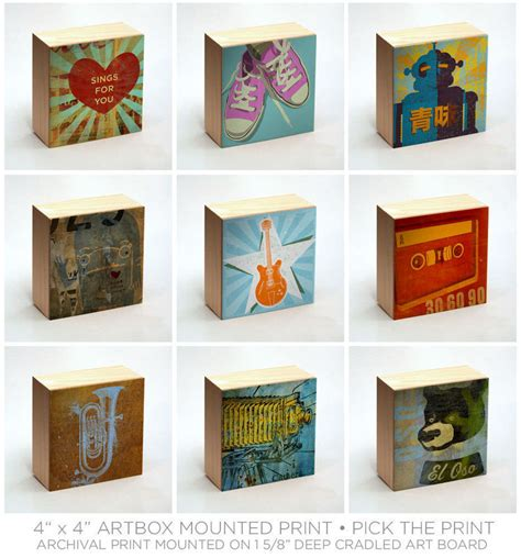 art  wood art box wall decor pick  art print