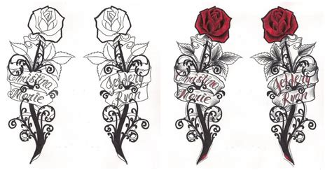 gothic roses with banner tattoo designs by rosanne