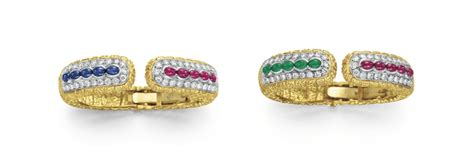 Terlaris Christie Ac 2667 Sapphire Gold White two emerald sapphire ruby and cuff bracelets