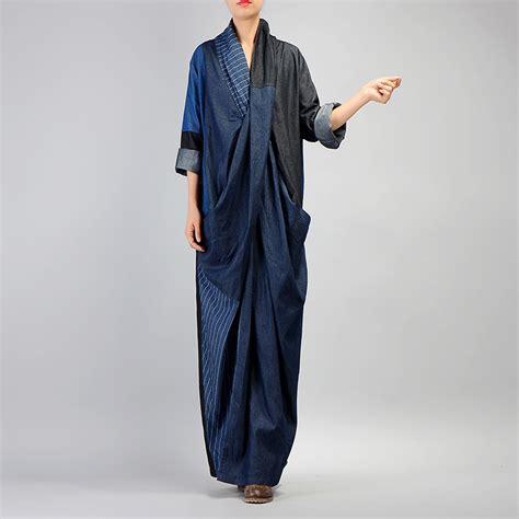 Patchwork Robe - johnature denim dress 2017 fall winter new patchwork